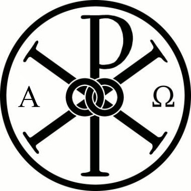 Chi-Rho, the first two letters of christ, surrounded by Alpha and Omega, the first and last letters of the Greek alphabet